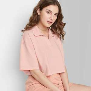 Women's Short Sleeve Boxy Cropped Polo T-Shirt - Wild Fable