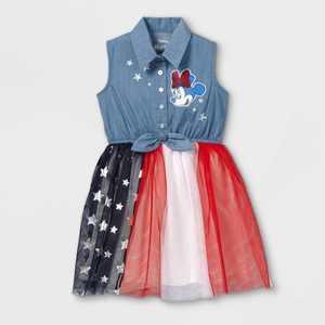 Toddler Girls' Minnie Mouse Chambray Americana Sleeveless Dress
