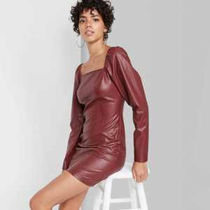 Women's Long Sleeve Faux Leather Bodycon Dress - Wild Fable
