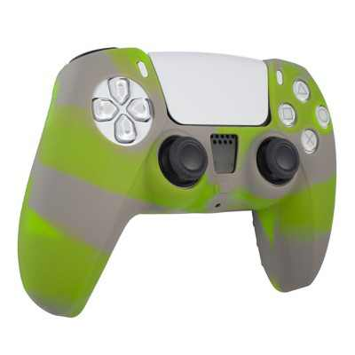 Insten Silicone Skin Cover Case Compatible with Sony PlayStation PS5 Controller, Camouflage Green Gray