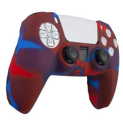 Insten Silicone Skin Cover Case Compatible with Sony PlayStation PS5 Controller, Camouflage Blue Red