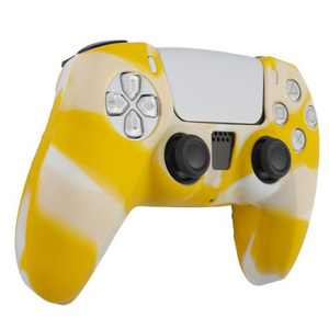 Insten Silicone Skin Cover Case Compatible with Sony PlayStation PS5 Controller, Camouflage Yellow White
