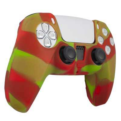 Insten Silicone Skin Cover Case Compatible with Sony PlayStation PS5 Controller, Camouflage Green Red