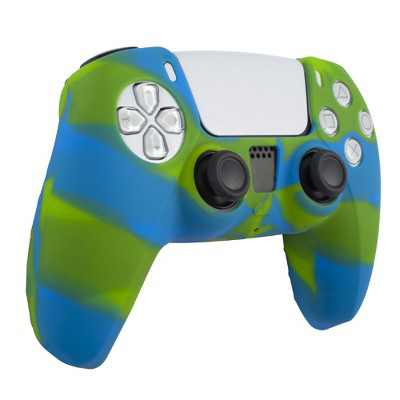 Insten Silicone Skin Cover Case Compatible with Sony PlayStation PS5 Controller, Camouflage Green Blue