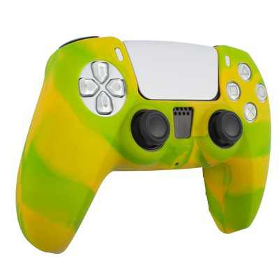 Insten Silicone Skin Cover Case Compatible with Sony PlayStation PS5 Controller, Camouflage Green Yellow