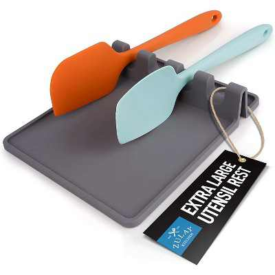 Zulay Kitchen Silicone Utensil Rest Extra Large - Grey