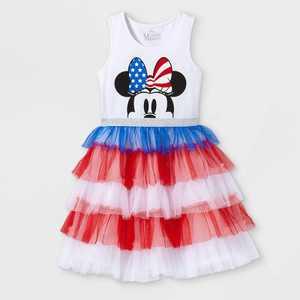 Girls' Disney Minnie Mouse Tutu Dress - White/Red/Blue