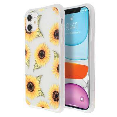 Insten Printed Floral Case For iPhone, Sunflower Pattern Hard PC Back with TPU Bumper Cover, Clear