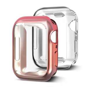 Insten 2 Pack Case Compatible with Apple Watch 44mm Series SE 6 5 4, Full Coverage, Soft TPU Protector, Plated Gradient Pink to Gray and Clear Case