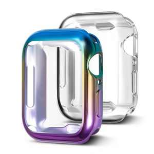 Insten 2 Pack Case Compatible with Apple Watch 40mm Series SE 6 5 4, Full Coverage, Soft TPU Protector, Plated Gradient Purple to Blue and Clear Case