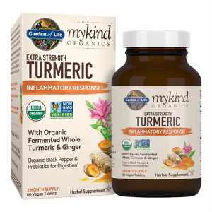 Garden of Life Herbal Supplements mykind Organics Extra Strength Turmeric Inflammatory Response Tablet 60ct