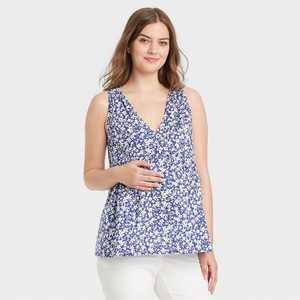 The Nines by HATCH Sleeveless V-Neck Smocked Shoulder Maternity Blouse Blue Floral Print