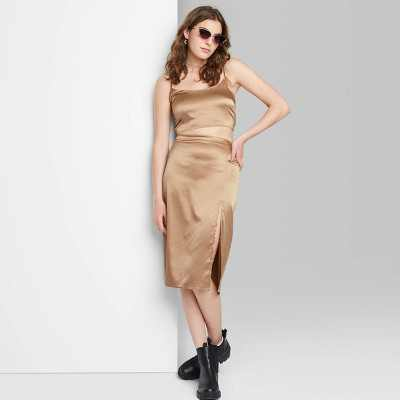 Women's Satin Super Crop Top and Midi Skirt - Wild Fable