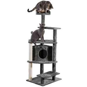 FurHaven Tiger Tough Platform House Playground - Gray