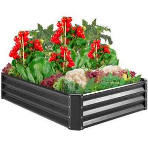 Best Choice Products 4x3x1ft Outdoor Metal Raised Garden Bed for Vegetables, Flowers, Herbs, Plants - Dark Gray