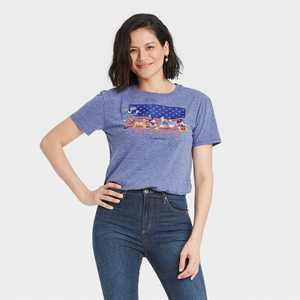 Women's Mickey and Friends American Short Sleeve Graphic T-Shirt - Blue