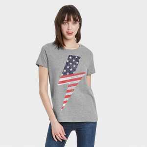 Women's USA Lighting Bolt Short Sleeve Graphic T-Shirt - Heather Gray