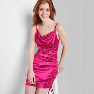 Women's Satin Ruched Slip Dress - Wild Fable