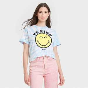 Women's SmileyWorld Short Sleeve Graphic Boyfriend T-Shirt - Light Blue Tie-Dye