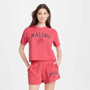 Women's Malibu Rose Short Sleeve Boxy Cropped Graphic T-Shirt - Red