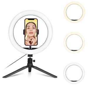 Dartwood Selfie Ring Light - 10 Inch LED Makeup Light with Adjustable Tripod Stand, Bluetooth Remote & Cell Phone Holder for iPhone and Android Phones