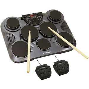 Pyle Pro PTED01 Electronic Drum Set Lightweight Portable Tabletop 7 Pad Digital Musical Instrument Drum Kit with Built In Speakers and Drum Sticks