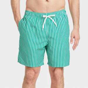 "Men's 7"" Striped Swim Trunks - Goodfellow & Co Green"