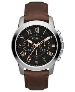Men's Chronograph Grant Brown Leather Strap Watch 44mm FS4813