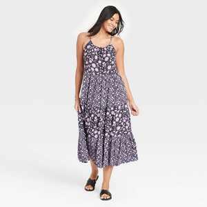 Women's Floral Print Sleeveless Tiered Dress - Universal Thread Navy
