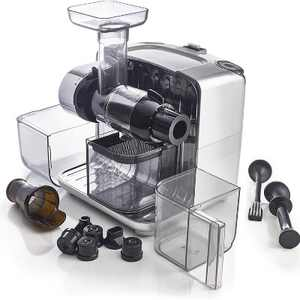 Omega CUBE300S Juice Cube and Nutrition System Fruit, Vegetable, Nut, and Seed Cold Press Juicer Extractor Masticator, Clear/Silver