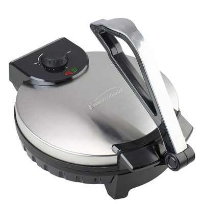 Brentwood TS-129 12 Inch Stainless Steel Non-Stick Electric Versatile Tortilla Presser Maker with Power Indicator Lights and Adjustable Heat Settings