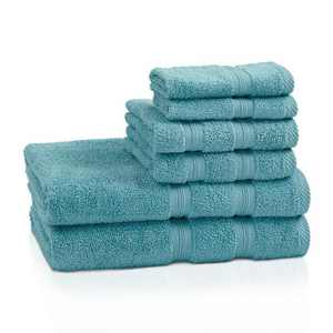 Modern Smart Dry Absorbent Zero-Twist 6-Piece Towel Set - Blue Nile Mills