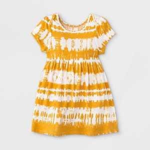 Grayson Mini Baby Girls' Tie-Dye Short Sleeve Bodysuit - Yellow