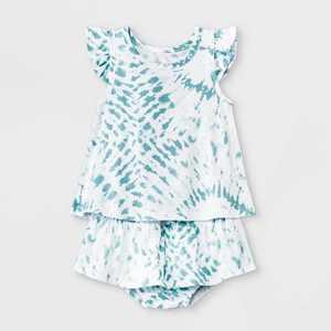 Grayson Mini Baby Girls' Tie-Dye Ruffle Top & Bottom Set - Blue