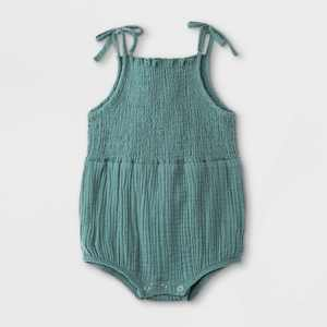 Grayson Mini Baby Girls' Bow Strap Gauze Bubble Bodysuit - Blue