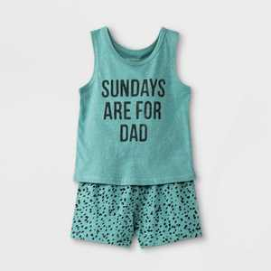 Grayson Mini Baby Boys' 'Sundays Are For Dad' Top & Bottom Set - Blue