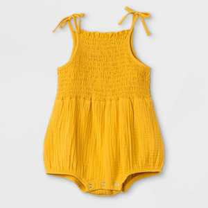 Grayson Mini Baby Girls' Gauze Bubble Romper - Gold