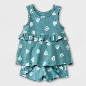 Grayson Mini Baby Girls' 2pc Heart Top & Bottom Set - Blue