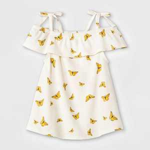 Grayson Mini Baby Girls' 2pc Butterfly Tencel Top & Skirt Set - White