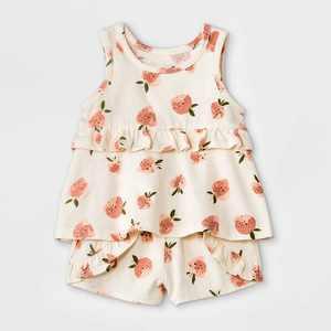 Grayson Mini Baby Girls' 2pc Strawberry Top & Bottom Set - White