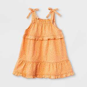 Grayson Mini Baby Girls' Tie Shoulder Dot Dress - Orange