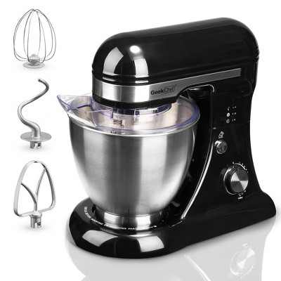 Geek Chef GSM45B Stainless Steel 4.8 Quart Bowl 12 Speed Kitchen Countertop Baking Food Stand Mixer with Beater Paddle, Dough Hook, and Whisk, Black