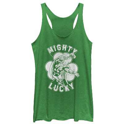 Women's Marvel St. Patrick's Day Thor Mighty Lucky Clover Racerback Tank Top