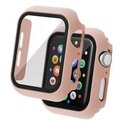 Insten Case Compatible with Apple Watch 44mm Series 6/SE/5/4 - Matte Hard Bumper Cover with Built-in 9H Tempered Glass Screen Protector, Pink