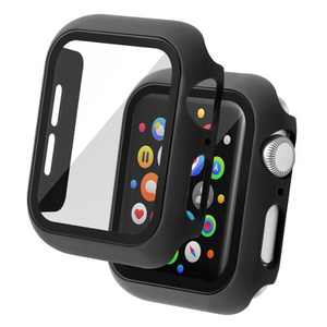 Insten Case Compatible with Apple Watch 44mm Series 6/SE/5/4 - Matte Hard Bumper Cover with Built-in 9H Tempered Glass Screen Protector, Black
