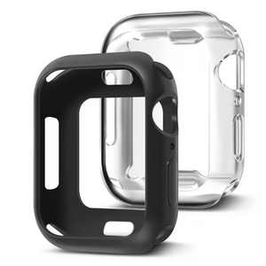 Insten 2 Pack Case Compatible with Apple Watch 44mm Series 6/SE/5/4 - Rugged Cover with Built-in Screen Protector, Black and Clear
