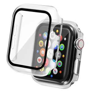 Insten Case Compatible with Apple Watch 40mm Series 6/SE/5/4 - Matte Hard Bumper Cover with Built-in 9H Tempered Glass Screen Protector, Clear