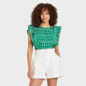 Women's Flounce Sleeveless Embroidered Ruffle Blouse - Universal Thread
