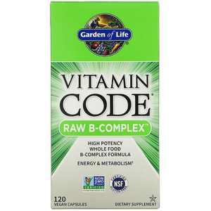 Garden of Life Vitamin B Vitamin Code Raw B-Complex Capsule 120ct.