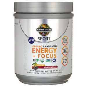 Garden of Life Sports Nutrition Supplements Sport Organic Plant-Based Energy + Focus Powder - Blackberry Cherry 8.1 oz